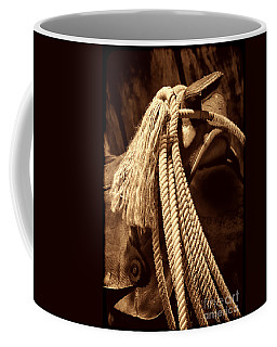 Lariat On A Saddle Coffee Mug by American West Legend By Olivier Le Queinec