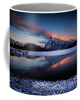 Last Light On Mount Rundle Coffee Mug