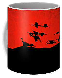 Last Light, Sandhill Cranes, Bosque Del Apache, Nm Coffee Mug