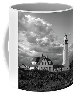 Late Afternoon Clouds, Portland Head Light, Maine #98461-bw Coffee Mug