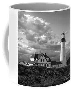 Late Afternoon Clouds, Portland Head Light, Maine #98461-bw Coffee Mug