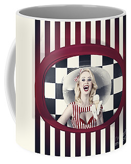 Laughing Woman Inside A Vintage Ice Cream Shop Coffee Mug