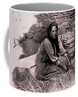 Coffee Mug featuring the photograph Lauhala Weaver by Pg Reproductions