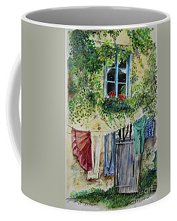 Coffee Mug featuring the painting Laundry Day In France by Jan Dappen