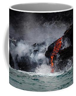 Lava Dripping Into The Ocean Coffee Mug