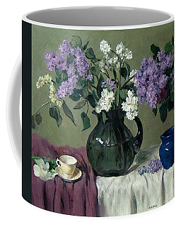 Lavender And White Lilacs With Blue Creamer And Teacup Coffee Mug