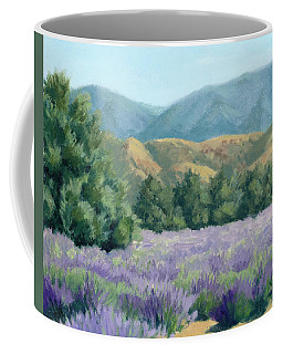 Lavender, Blue And Gold Coffee Mug by Sandy Fisher