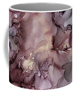 Lavender Gold Swirls Ink Abstract Painting Coffee Mug