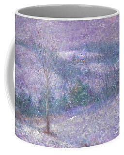 Coffee Mug featuring the painting Lavender Impressionist Snowscape by Judith Cheng