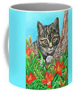 Coffee Mug featuring the painting Lazing In The Lillies by Val Stokes