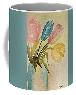 Coffee Mug featuring the painting Lazy Tulips by Maria Urso