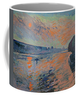 Coffee Mug featuring the painting Le Coucher Du Soleil La Meuse Maastricht by Nop Briex