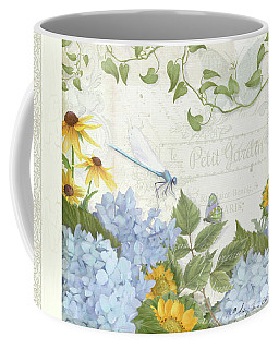 Coffee Mug featuring the painting Le Petit Jardin 2 - Garden Floral W Dragonfly, Butterfly, Daisies And Blue Hydrangeas W Border by Audrey Jeanne Roberts