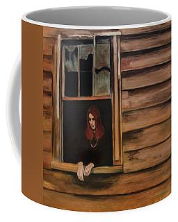 Coffee Mug featuring the painting Lea Henry Broken Window Broken Dreams by Ron Richard Baviello