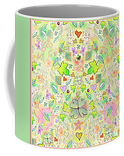 Leaf And Flower And Heart Pattern  Coffee Mug