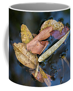 Coffee Mug featuring the photograph Leaf Litter In Pond, Navegaon, 2011 by Hitendra SINKAR