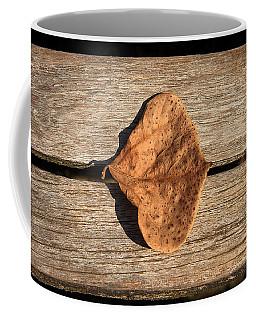 Leaf On Wooden Plank Coffee Mug