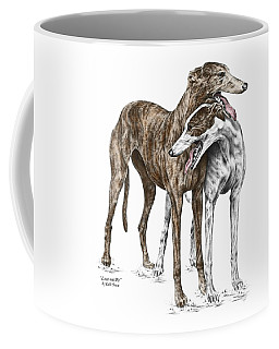 Lean On Me - Greyhound Dogs Print Color Tinted Coffee Mug