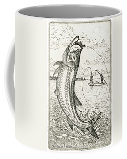 Coffee Mug featuring the drawing Leaping Tarpon by Charles Harden