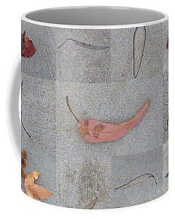 Coffee Mug featuring the photograph Leaves And Cracks Collage by Ben and Raisa Gertsberg