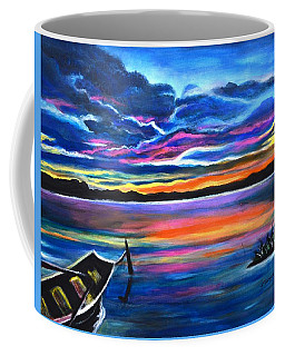 Left Alone A Seascape Boat Painting At Sunset  Coffee Mug