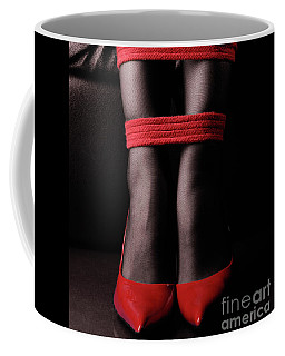 Legs Tied With Red Bondage Ropes Art Print Coffee Mug