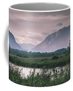 Leisure Boat On River Adda In Northern Italy, Close To Lake Como - Reflection Of Italian Alps Coffee Mug