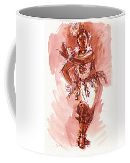 Coffee Mug featuring the painting Lelei, Dancer Of Tonga by Judith Kunzle