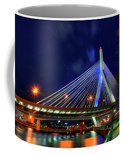 Coffee Mug featuring the photograph Leonard P Zakim Bridge At Night - Boston Cityscape by Joann Vitali