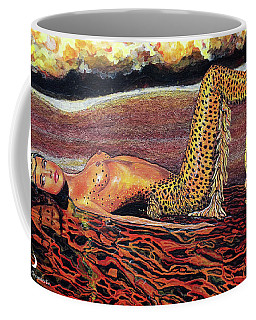 Leopard Mermaid Coffee Mug by Debbie Chamberlin