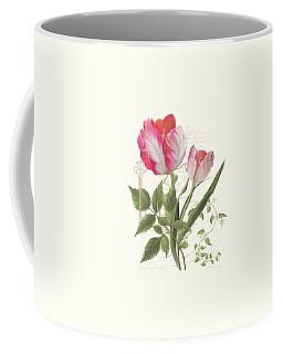 Les Magnifiques Fleurs I - Magnificent Garden Flowers Parrot Tulips N Indigo Bunting Songbird Coffee Mug
