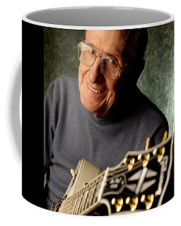 Les Paul With His White Gibson Les Paul Custom Guitar By Gene Martin Coffee Mug