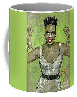 Coffee Mug featuring the drawing Leslie Jones by P J Lewis