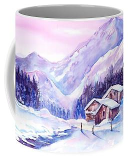 Swiss Mountain Cabins In Snow Coffee Mug