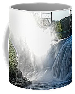Coffee Mug featuring the photograph Letchworth State Park Upper Falls And Railroad Trestle Abstract by Rose Santuci-Sofranko