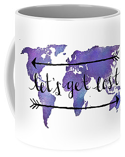Let's Get Lost Purple Coffee Mug
