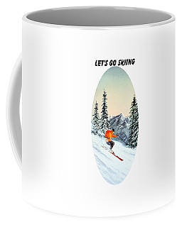 Coffee Mug featuring the painting Let's Go Skiing  by Bill Holkham