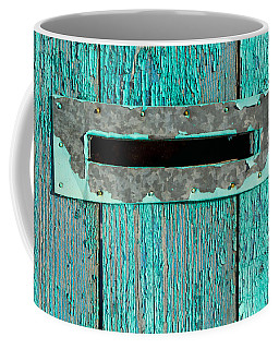 Letter Box On Blue Wood Coffee Mug