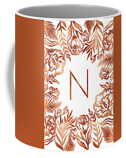 Letter N - Rose Gold Glitter Flowers Coffee Mug