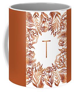 Letter T - Rose Gold Glitter Flowers Coffee Mug