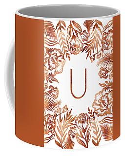 Letter U - Rose Gold Glitter Flowers Coffee Mug