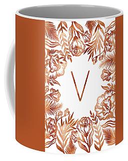 Letter V - Rose Gold Glitter Flowers Coffee Mug