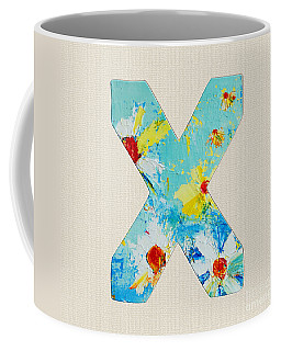 Letter X Roman Alphabet - A Floral Expression, Typography Art Coffee Mug