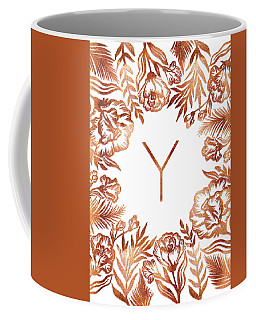 Letter Y - Rose Gold Glitter Flowers Coffee Mug