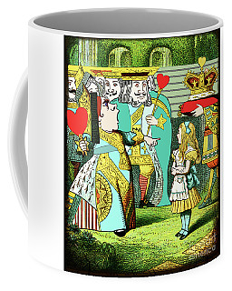Lewis Carrolls Alice, Red Queen And Cards Coffee Mug
