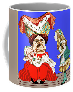 Coffee Mug featuring the painting Lewis Carrolls Alice, Red Queen And Crying Infant by Marian Cates