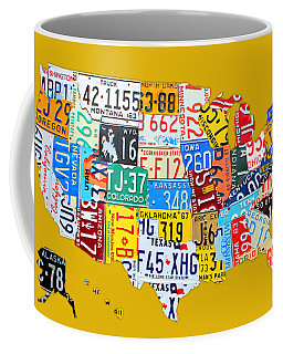 License Plate Art Map Of The United States On Yellow Board Coffee Mug