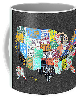 License Plate Map Of The United States On Gray Felt Large Format Sizing Coffee Mug