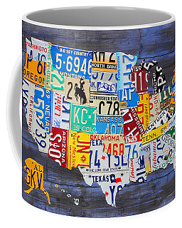 License Plate Map Of The Usa On Blue Wood Boards Coffee Mug