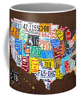 License Plate Map Of The Usa On Brown Wood Coffee Mug